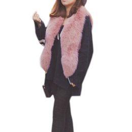 Argentina Mujeres Faux Fox Fur Chaleco Abrigo 2018 Invierno Gruesa Chaqueta Cálida Pink Fur Chaleco Outwear Moda Coreana Corta Faux Fur Abrigos Para mujer cheap women fur pink jacket korean Suministro