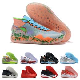 2019 kd shoes para hombre negro 2019 KD 12 Hombres Zapatos de baloncesto Kevin Durant XII Flor Naranja Triple Negro 12s Hombres Zapatillas de deporte Diseñador Zapatillas de deporte Tamaño 7-12 Chaussures rebajas kd shoes para hombre negro