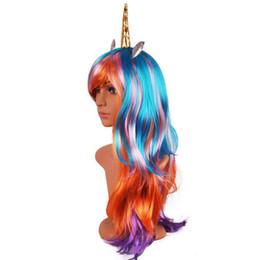 Parrucche di compleanno online-70 centimetri lungo ondulato Unicorno Cosplay Parrucche Festa di Compleanno Capelli finti Unicorno Parrucche con Corno Parrucche sintetiche Lolita Anime Decor Halloween Cappello