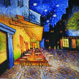 peintures tulipes abstraites Promotion Paysage Impressions Sur Toile Art Peinture À L'huile Café Terrasse Dans La Nuit de Vincent Van Gogh Reproductions De Peintures pour La Décoration Murale De Bureau