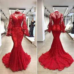 netted evening gowns Coupons - Glitz Floor Length Evening Gown 2020 R Evening Gowns Red Form Fitting Prom Dresses Beaded Lace on Net with Long Bell Sleeves Party Dress