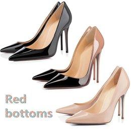 Salto de estilete original on-line-Com caixa original designer de sapatos de luxo assim kate estilos de salto alto sapatos vermelhos bottoms 8 cm 10 cm 12 cm tamanho de borracha de couro genuíno 35-42