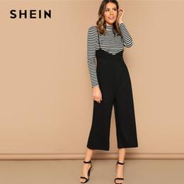f27b2cddb86 wholesale Black Wrap Waist Wide Leg Suspender Jumpsuit Women Spring Spaghetti  Strap Wide Leg High Waist Loose Long Jumpsuits