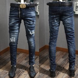 cerniera jeans leg Sconti Zipper Accent Damaged Jeans Man Cool Guy Fit Paint Effetto consumato Slim Leg per maschio