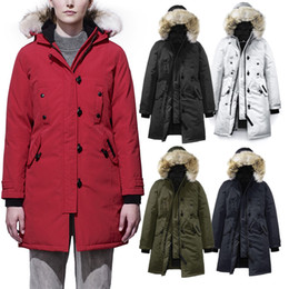 Canada Real Fur Gooses Kragen Parka Frauen Winter Daunenjacke Winter Jacken Windjacke dicken Schnee Wear lange Mantel Dame Clothing weiblich