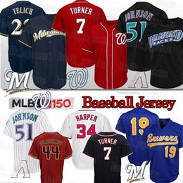 Milwaukee baseball jersey online-Washington 7 Trea Turner Nationals 22 Christian Yelich 51 Randy Johnson Milwaukee Brewers Jersey di baseball Arizona Diamondbacks del pullover