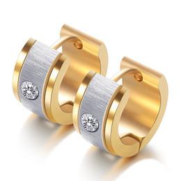 edelstahl cz ohrringe Rabatt 3 Farben Unisexohrring-Band-Edelstahl-Band-Ohrringe 316L mit CZ-Kristallband-Ohrringen für Frauen-Männer Dropshipping