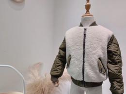 Chaquetas verdes niños online-Ropa de niños niñas Abrigo de lana de piel sintética Parka cálida de invierno Chaqueta Traje de nieve de Navidad Ropa de abrigo verde Ropa de niños para niños