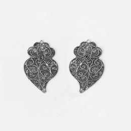 12 STÜCKE Antik Silber Große Hohl Filigrane Blume Viana Herzanhänger Anhänger für Halskette Miking Schmuckzubehör 59x38mm von Fabrikanten