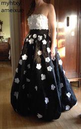 2019 abiti di occasione neri sexy 2019 New Sexy in bianco e nero floreale Applique nero Pageant Prom Dresses Occasioni speciali Abiti su misura Colore Robe De Soiree abiti di occasione neri sexy economici