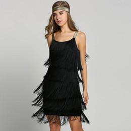 costumi swing Sconti Vintage Vestido 1920 Flapper Girl Fancy Dress Grandi costumi Gatsby Dress Slash Neck Tiered Fringe Swing Party Fascia