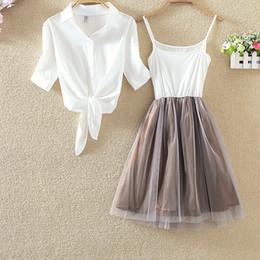 Mini tutu rosa mujer online-S-4xl camisa blanca y vestido de tutú honda traje de las mujeres 2 piezas verano vestido lindo azul rosa camisa y velo blanco vestidos de talla grande 3xl SH190713