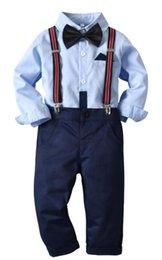 2019 Kinderanzug Herbstanzug Jungen weißes Hemd blaue Weste gewebte Hose dreiteiliger Anzug Meistverkaufte neue Modelle 80 130T
