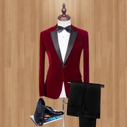 2019 Kırmızı Kadife Adam Adam giysileri Için Suits 2 Psc Doruğa Yaka düğün takım elbise Klasik tarzı düğün Smokin Parti Suits Için nereden