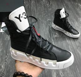 2019 sapatos vestido estilo europa 2019 NOVA Kanye West Y-3 NOCI0003 Vermelho Branco Preto cinza azul Alto-Top Homens Tênis de moda Couro Genuíno Y3 Sapatos Casuais Botas