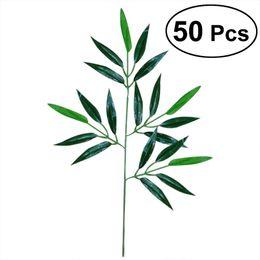 2019 folhas falsas para decoração 50 pcs artificial Green Bamboo Leaves falsificados plantas Folhas verdes das hortaliças para Decoração do casamento Home Hotel Escritório desconto folhas falsas para decoração
