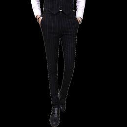 Полосатое красное платье онлайн-Striped mens dress pants Red blue gray black men pant Asia size S M L XL XXL XXXL XXXXL trousers