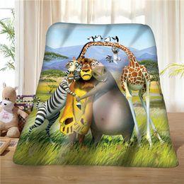 2019 diy giraffa decorazione Custom Madagascar-Lion-Giraffe- (1) Coperta Soft Fleece DIY Your Picture Decorazione Camera da letto Divano Multi Size # 929-02-001-57 diy giraffa decorazione economici