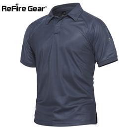 Chemises de l'armée en Ligne-Refire Gear Hommes Polo militaire respirant armée Combat Polo tactique mâle bleu marine à séchage rapide Polo Shirts à manches courtes S-5xl Q190428