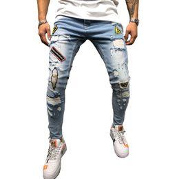 2019 calças homem casual Homens Modis Impresso Jeans Motociclista Casual Estiramento Slim Fit Rasgado Skinny Denim Designer Calças Calças Bordadas calças homem casual barato