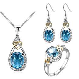 Passendes hohes licht online-Ajojewel hochwertige hellblauen Stein Ohrringe Halskette Schmuck-Set klassische Hochzeit Bijou Match mit feinen Geschenkbox