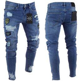 Canada Style américain européen 2018 New Men Stretchy Jeans Cartoon Patch Skinny Jeans Slim Fit mode rétro trou du genou petit pied supplier american cartoons Offre