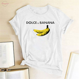 bananent-shirt Rabatt Lustiges T-Shirt mit V-Ausschnitt Dolce Amp; Banana gedruckte Frauen Short Sleeve Harajuku Ulzzang Tumblr-T-Shirt Mode-Frucht Art-nette Tops Grafik