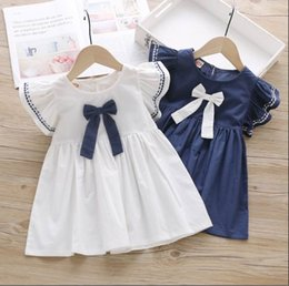Koreanisches mädchen sommerkleid online-Baby-Sommer-Kleid 2020 neue Kinder Wear koreanische Art Aufflackern-Hülsen-Prinzessin Dress Navy White E2024