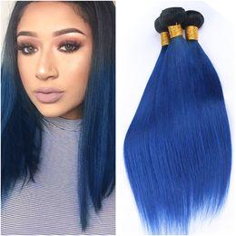 1b Blau Ombre Brasilianischen Gerade Weaves Menschliches Haar Bundles Schwarz Und Dunkelblau Ombre Virgin Hair Extensions Two Tone 4 Bundles Lot