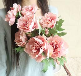Fleurs Artificielles Vivid Pivoine Soie Fleurs Faux Mariage Fleurs Décoratives Home Party Décoration 6 Couleurs En Option YW2670 ? partir de fabricateur