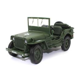 Modelos de guerra mundial on-line-KDW 1:18 Liga modelo de carro Diecast Jeep Segunda Guerra Mundial Willis Coleção de Veículos decoração brinquedos para crianças