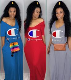 Champions femmes Maxi robes nouvelle mode sexy Deep-V épaule Imprimer Pull à manches courtes trois couleurs S-2XL vêtements d'été, plus la taille ? partir de fabricateur