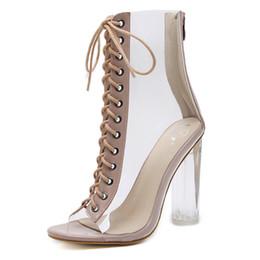Argentina Sandalias de tacón alto con cordones Peep-toe de plataforma con cuña transparente para mujer Sandalias de tacón alto Zapatos Suministro