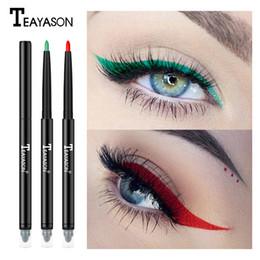 Двойной подводка для глаз онлайн-Teayason dual ended eyeliner pencil with sponge 12 color gold glitter eye liner waterproof long lasting matte eyeliner gel AM068