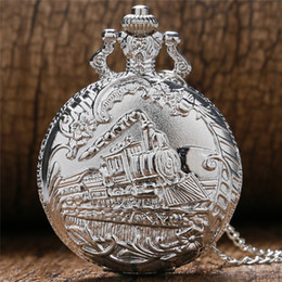 series engines Promo Codes - Retro Bronze Train Front Locomotive Engine Series Quartz Pocket Watch Men Women Analog Clock Watches With Chain Necklace Souvenir Gifts