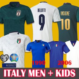 Italien weg jersey online-19 20 Italien Fußball-Trikots Auswärts Third INSIGNE IMMOBILE 1990 Retro Fußball Renaissance Jersey Mens BELOTTI TOTTI 2006 Retro Fußball-Hemd
