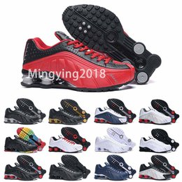 2019 melhores sapatos de couro casual mens Shox R4 Designer Mens Running Shoes 2019 Homens Almofada de Ar de Couro Casual de Alta Qualidade Formadores Ao Ar Livre Melhores Caminhadas Tênis Esportivos 40-46 desconto melhores sapatos de couro casual mens