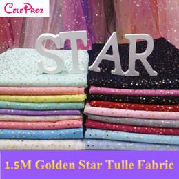 tela bordada de terciopelo rojo Rebajas 1 M Golden Star Tulle Tela Glitter Star Tul Organza Tela Boda Cumpleaños DIY Fiesta Tutu Falda Fotografía Telón de fondo