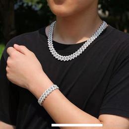 2019 pulseiras de ouro 24k china congelado para fora cadeias pulseira colar de designer jewlery luxuoso conjunto de homens que bling pulseiras correntes de diamantes cubano ligação colares de ouro 18K cadeias
