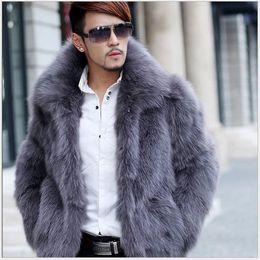 2019 casacos de inverno 2018 dos homens Faux Fur Coats Novo Estilo Imitação de Pele De Raposa Casacos de Cor Cinza Casacos Masculinos Com Colar Guarnição Fit Casual Casaco de Inverno casacos de inverno barato