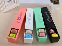 papierverpackung keksbox Rabatt Neue Macaron Box Cake Boxes Hausgemachte Macaron Chocolate Boxes Biscuit Muffin Box Retail Paper Verpackung 20.3 * 5.3 * 5.3cm 4 Farben Geben Sie Schiff frei