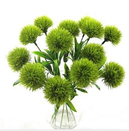 Hastes decorativas on-line-Único tronco dandelion flores artificiais dandelion flor de plástico decorações de casamento comprimento cerca de 25 cm mesa de centro