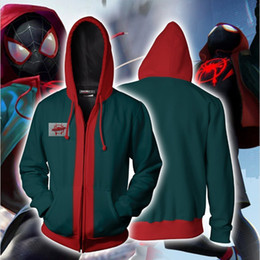 cosplay hoodies zipped Coupons - BIANYILONG Autumn Winter 3D Print Into the Spider-Verse Miles Morales New Look Cosplay Zip Up Hoodie Jacket clothing