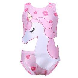 menina biquíni de uma peça Desconto Cute Baby Unicorn Swimsuit 2020 crianças pequenas, médias e grandes Spring Beach-vestir Hot Natação da menina Set roupa de banho do miúdo