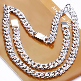 2020 conjunto de collar pulsera de plata de los hombres Sistema de la joyería al por mayor 925 joyería de plata 925 Hombres 1 + 1 sistemas de la joyería Cadena Figaro de la pulsera del collar + de plata esterlina para Hombres rebajas conjunto de collar pulsera de plata de los hombres