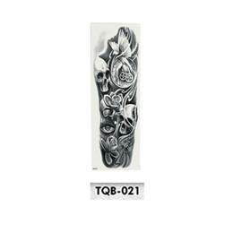 2019 pintura de la cara de pascua Full Flower Arm Tattoo Sticker Esqueletos y Rosas Pegatinas de Tatuaje Temporal Transferencia de Agua Tatuaje Manga Body Art