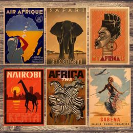 dipinti astratti bianchi neri rossi Sconti Zebra Giraffe Viaggi Sudafrica Pittura su tela Quadri murali vintage Kraft Poster Rivestimenti adesivi murali Regalo per la decorazione della casa