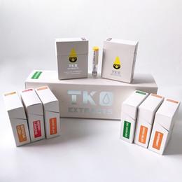Atomizador de cera de vidrio ecig online-TKO Extractos Vape Cartucho Empaquetado Vidrio grueso Vapor de aceite TKO Carts Dab Pen Cera Vaporizador Ecig Atomizadores para 510 baterías con 20 sabores