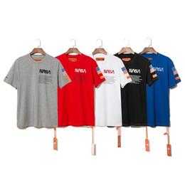 2019 shirt flag USA Flag NASA x Heron Preston Maglietta Mens Summer Short Sleeve T Shirt Emboridered Girocollo Casual Top 5 colori shirt flag economici