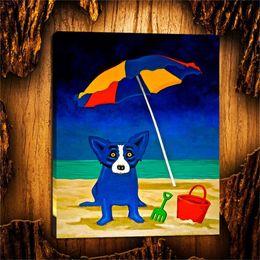 telai di pittura a olio del villaggio Sconti Blue Dog -29,1 Pezzi Home Decor HD Stampato Pittura di arte moderna su tela (senza cornice / con cornice) 16X20.